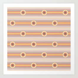 Concentric Circles and Stripes in Fall Colors Art Print