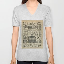 String Instruments Vintage Scientific Illustration French Language Encyclopedia Lithographs Educatio Unisex V-Neck