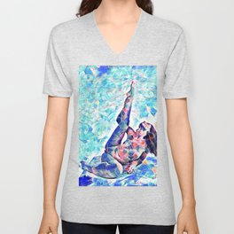 3047-JPC Abstract Nude in Blue Green Yoga Stretch Feminine Power Unisex V-Neck