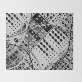 analog synthesizer  - diagonal black and white illustration Throw Blanket