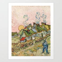 Houses and Figure by Vincent Van Gogh, 1890 Art Print