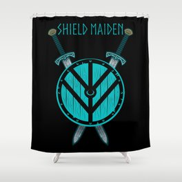 Viking Shield Maiden Badass Woman Warrior Shower Curtain