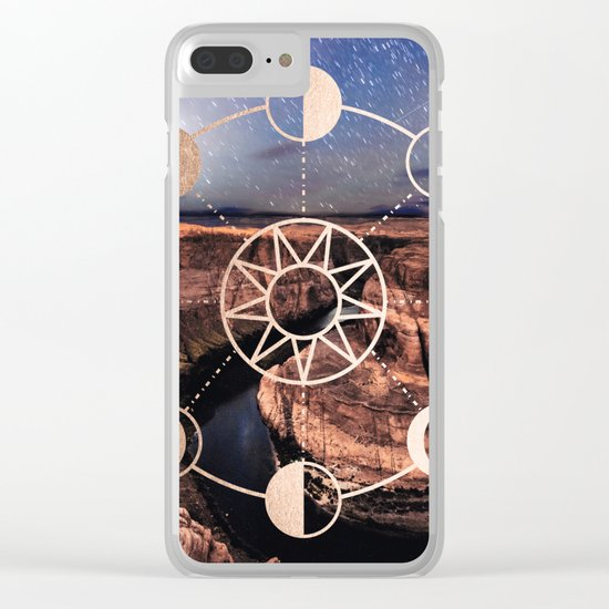 Mandala Southwest Desert Sun and Moon Phases Clear iPhone Case