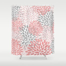 Floral Pattern, Coral Pink and Gray Shower Curtain