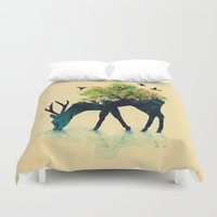 plants Duvet Covers featuring Watering (A Life Into Itself) by Picomodi