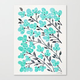 Cherry Blossoms – Turquoise & Black Palette Canvas Print