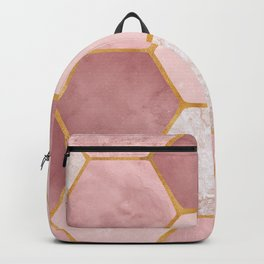 Pink and Gold Hexagon Print Backpack
