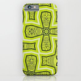 Lime Green and Black Irregular Abstract Pattern iPhone Case