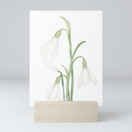 angelic snowdrop flowers watercolor Mini Art Print
