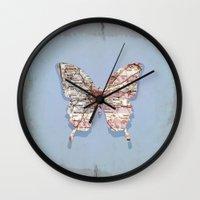 atlanta Wall Clocks featuring butterfly atlanta by Steffi Louis