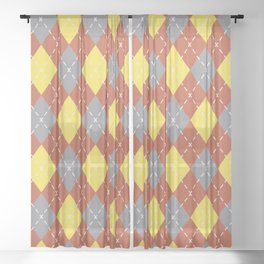 Gray Yellow and Dark Orange Argyle Pattern V11 Pantone 2021 Colors of the Year & Accent Shades Sheer Curtain