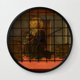 "Fra Filippo Lippi  ""Saint Mamas in Prison thrown to the Lions"" Wall Clock"