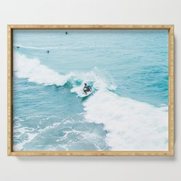 Wave Surfer Turquoise Serving Tray