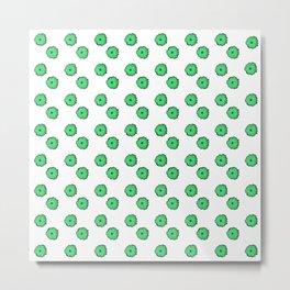 Green flowers on white Metal Print