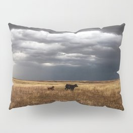 Life on the Plains - Cow Watches Over Playful Calf in Oklahoma Pillow Sham