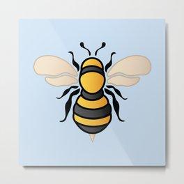 Honey Bee - Blue (Pattern) Metal Print