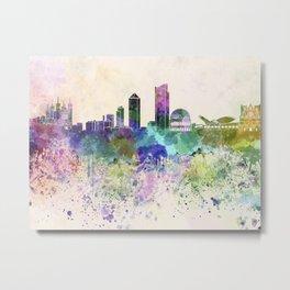 Lyon skyline in watercolor background Metal Print