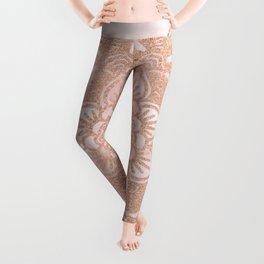 Rose gold mandala - pink marble Leggings