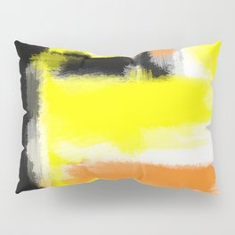 orange yellow and black painting abstract with white background Pillow Sham
