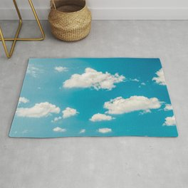 Deep Blue Summer Sky, White Clouds On Turquoise Sky, Heaven Scenery, Wall Art, Poster Decor Rug