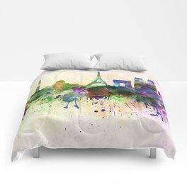 Paris skyline in watercolor background Comforters