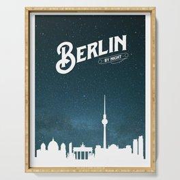 Berlin skyline by night Serving Tray