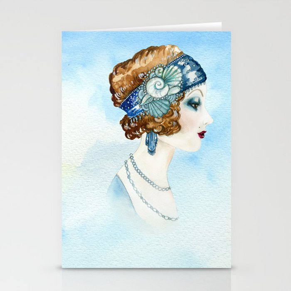 Art Deco Portrait Stationery Cards