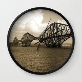 Forth Bridge, Scotland, in Sepia Wall Clock