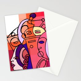 Red White Commotion Stationery Cards
