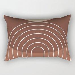 Mid Century Modern Geometric 4 (Terracotta and beige) Rectangular Pillow