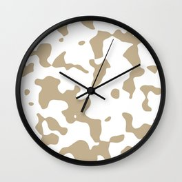 Large Spots - White and Khaki Brown Wall Clock