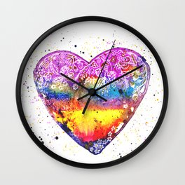 Colorful Love   White Wall Clock