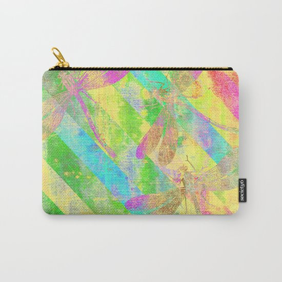 A Dragonflies and Stripes Y Carry-All Pouch