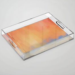 Abstract Landscape With Golden Lines Painting Acrylic Tray