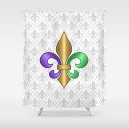 Purple Green and Gold Fleur-de-Lis on Gray Pattern Shower Curtain