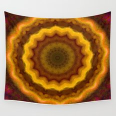 Lovely Healing Mandalas in Brilliant Colors: Pink, Yellow, Gold, and Bronze Wall Tapestry