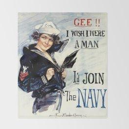 Vintage U.S. Navy Recruitment Poster Throw Blanket