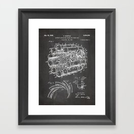 Airplane Jet Engine Patent - Airline Engine Art - Black Chalkboard Framed Art Print