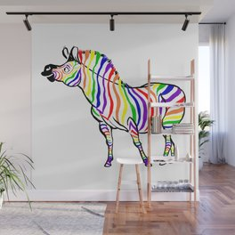 Rainbow Zebra Facing Left Wall Mural