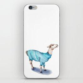 Llama in a Blue Sweater iPhone Skin