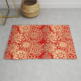 Red and Gold Mandala Pattern Rug