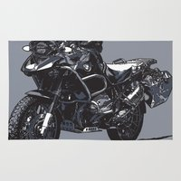 bmw Area & Throw Rugs featuring BMW R1200GS by Ernie Young