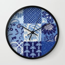 Blue and White Patchwork Squares Wall Clock