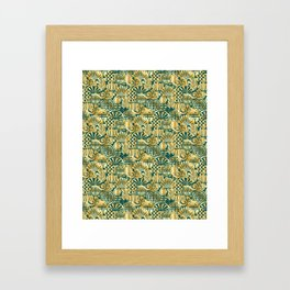 Chinese Symbols in Gold and Emerald Jade Green Framed Art Print