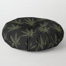 Weed Leaf Black Floor Pillow
