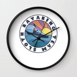 Sloth Kayaking Team Kayer Lover Retro Wall Clock