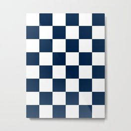 Large Checkered - White and Oxford Blue Metal Print