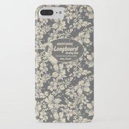 Club Surfing Longboard Logo and Hibiscus Hawaiian Print  iPhone Case