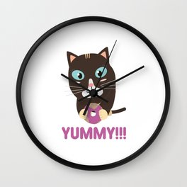 Cat with yummy Donut Wall Clock