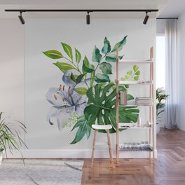 Flower and Leaves Wall Mural